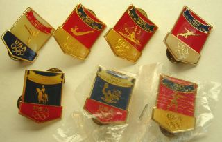 1988 Olympic Games 22 Pins USA Canada Olympic Teams ABC Sheriffs Badge
