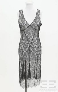 Max Mara Black Lace Sheer Sleeveless Dress Size US 4