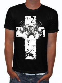 Roxx Skull on A Cross Rockabilly Skull Biker T Shirt