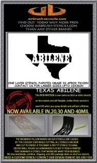 ABILENE TEXAS STATE airbrush stencil template motorcycle paint ~ NEW