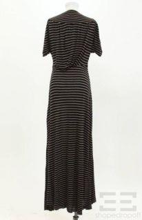 Navy Blue & Tan Stripe Jersey V Neck Long Dress Size Medium NEW