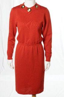 St. John For Saks Vintage 80s Red Santana Knit Long Sleeve Dress Gold