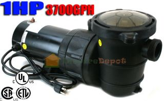 1HP 3700GPH Above Ground Swimming Pool Pump w Strainer UL Listed 2