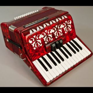 HOHNICA ACCORDIAN 2352 RED B C 26/48 BASS PIANO ACCORDION w/ CASE