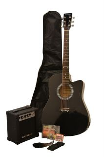 NEW ACOUSTIC ELECTRIC GUITAR PACKAGE W/ BLACK CUTAWAY GUITAR, AMP