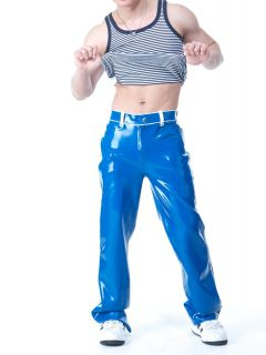 Squeeze Dog Latex Gummi Rubber Casual Active Sporty Pants Blue
