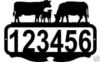 Custom Address Sign Personalized Metal Art Cow Decor