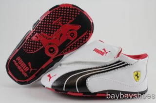 Puma Drift Cat 4 SF White Black Silver Red Velcro Ferrari Crib Infant
