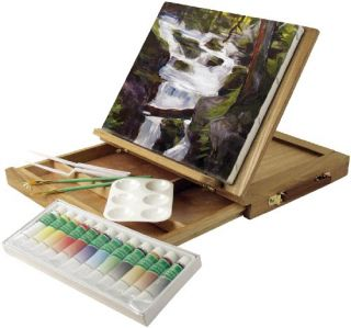 NEW Art Advantage Wood Art Box Easel Paint Set