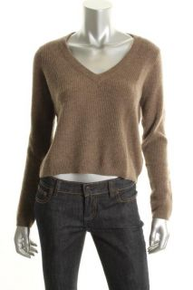 Qi New Brown Cashmere Ribbed Pullover Long Sleeves V Neck Crop Sweater