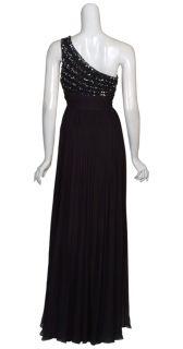 Aidan Mattox Black Beaded One Shoulder Long Silk Evening Gown Dress 6