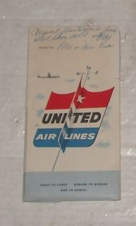 Antique 1955 United Airlines Flight Boarding Pass Ticket Brochure