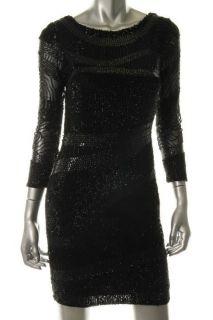 Aidan Mattox Black Sequins 3 4 Sleeves Knee Length Cocktail Dress 0