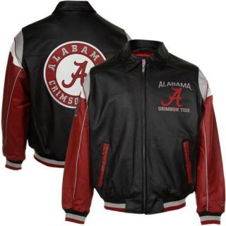Alabama Crimson Tide Napa Leather Varsity Full Zip Jacket Black