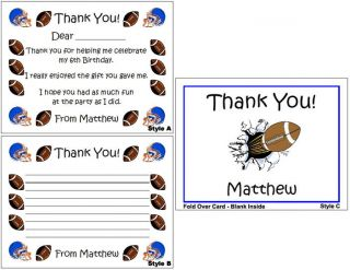 Football Sports Kid Adult Birthday Party Personalized Thank You Note
