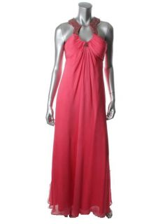 Aidan Mattox New Pink Chiffon Beaded Neckline Full Length Formal Dress