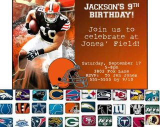 NFL Football Custom Birthday Party Invitation Your Team Any Team