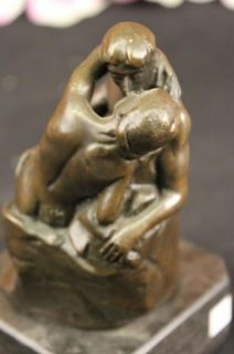 Art Deco Bronze   The Kiss Nude Lovers Figure A Rodin Statue Sculpture