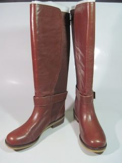 Lucky Brand Aida Brown Leather Knee High Riding Boots Shoes Womens Sz