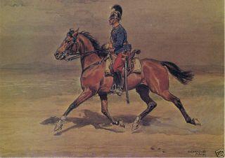 Man Riding Horse Signed Alexander Pock Modern Art Postcard
