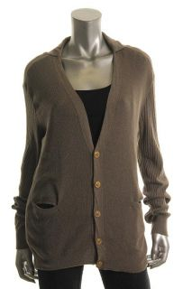 Alexander McQueen New Taupe Button Front Ribbed Long Sleeve Cardigan