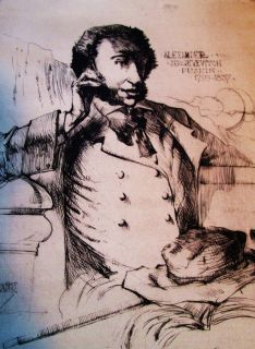 ALBERT ALEXANDER SMITH ETCHING PUSHKIN AFRICAN AMERICAN SIGNED