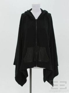Alexander Wang Black Cotton & Leather Sweatshirt Poncho Size XS