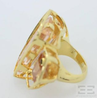 Alexis Bittar Gold Pink Jewel Triple Ring Size 6 25