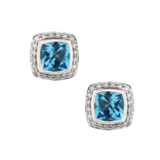 David Yurman Albion Blue Topaz Diamond Earrings