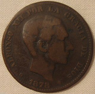1878 Spain 5 Centimos Alfonso XII Por La Gracia de Dios Selling Coin