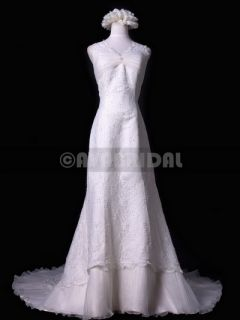 WA205 SLIM ALINE CAP SLEEVES ELEGANT LACE VINTAGE WEDDING DRESS SIZE