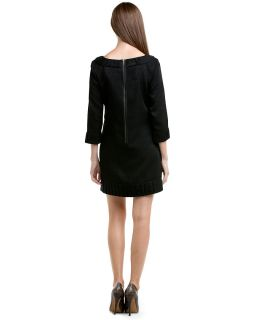 ali ro black metallic pleated shift dress $ 275 00