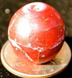 Antique 1 L Cournalene DAleppo White Heart Round Venetian Trade Bead