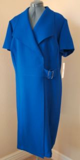 Alex Marie Royal Blue Knit Dress Sz 20 w Wrap Bodice Heavy Knit