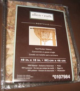 Allen Roth Montville Rod Pocket Window Curtain Valance 40x18 Brown
