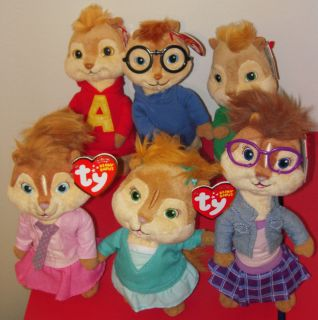 Ty Set of 6 ALVIN SIMON THEODORE BRITTANY ELEANOR JEANETTE Beanie Baby