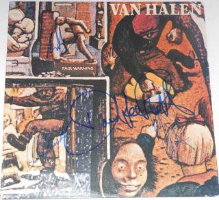 Van Halen Group Signed Autographed Fair Warning Album Eddie Alex David