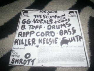 GG Allin 7 Artless Split 1983 Punk KBD Misfits RARE Cramps Septic