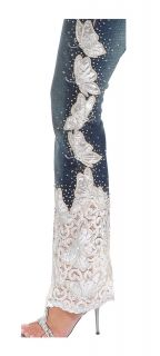 7549 Amanda Adams Denim Jeans Embroidered Lace Beads Crystals
