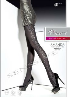 Amanda Metallic Semi Opaque Microfiber Tights Pantyhose Size s Black