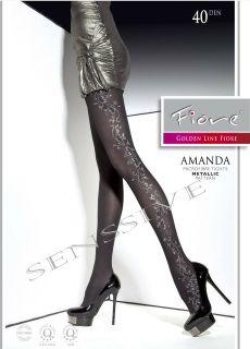 Amanda Metallic Semi Opaque Microfiber Tights Pantyhose Size s Black