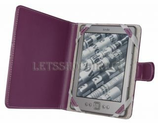 For Newest  Kindle 4 4th Gen Purple Leather Pouch Case Cover