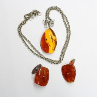 Drop Shape Light Cognac Baltic Amber Pendant and Cufflinks Set