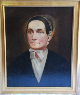 american folk art oil painting on canvas portrait of a quaker lady c