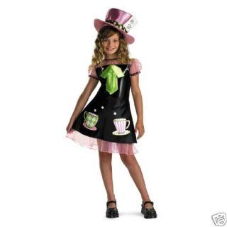Mad Hatter Girls Wonderland Alice Halloween Costume M