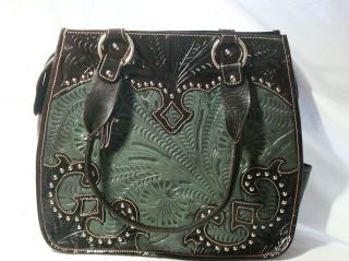 NWT American West Road Trip Hand Tooled Leather Tote Handbag Purse