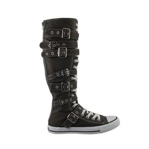 All Star XX Hi Buckle Chuck Knee High Charcoal Gray Straps All