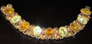 VENDOME Yellow Topaz Amber Rhinestone Amazing Vintage Bracelet