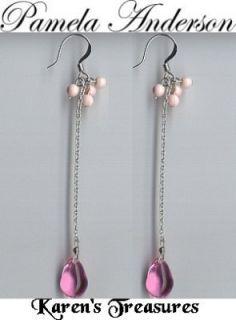 Pamela Anderson Jewelry Pink Glass Dangle Earrings New