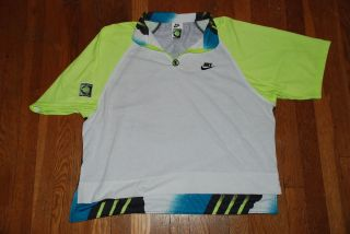 Vintage NIKE Challenge Court Andre Agassi tennis polo shirt PUMPS